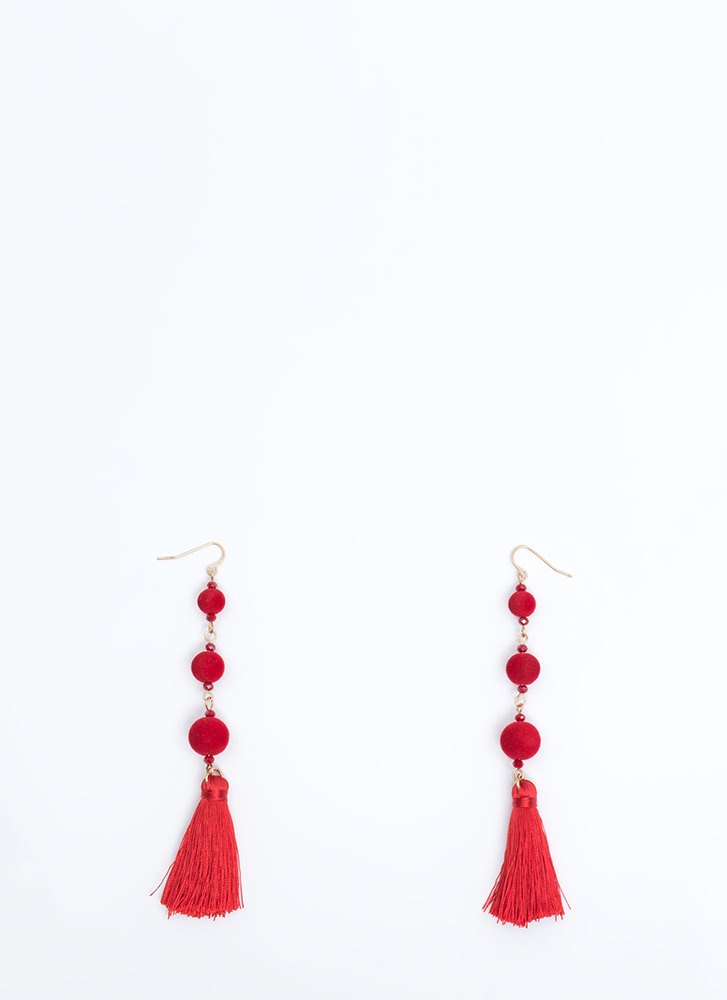 Whole New Ball Game Tassel Earrings RED