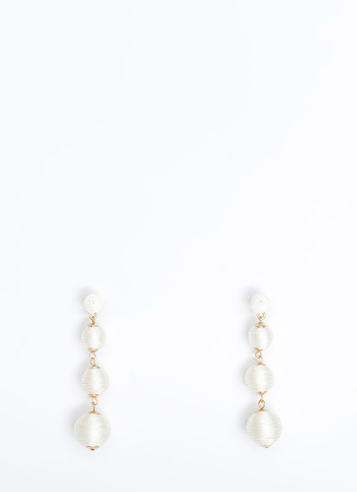 Ball Eyes On You Wrapped Earrings IVORY