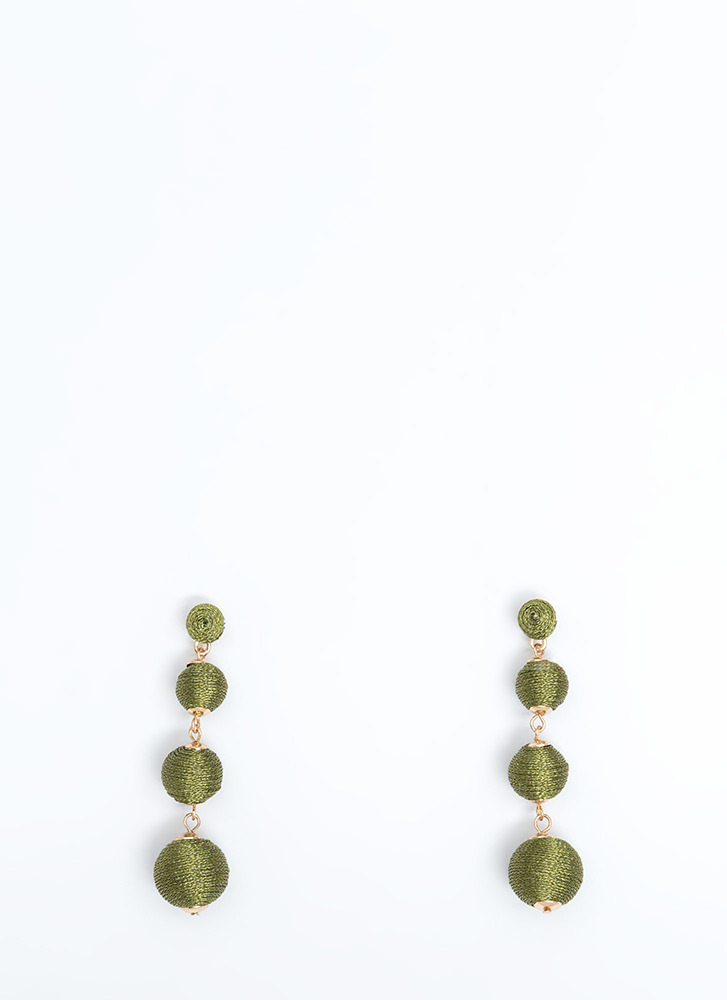 Ball Eyes On You Wrapped Earrings OLIVE