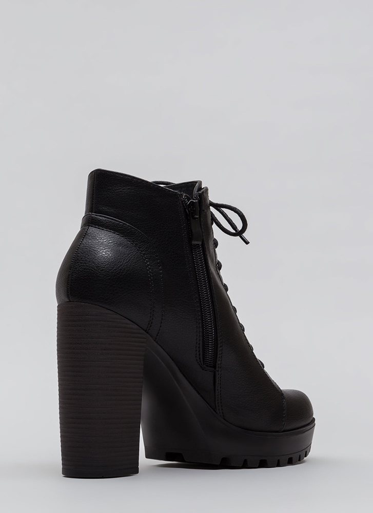 I'm Out Chunky Lace-Up Lug Booties BLACK