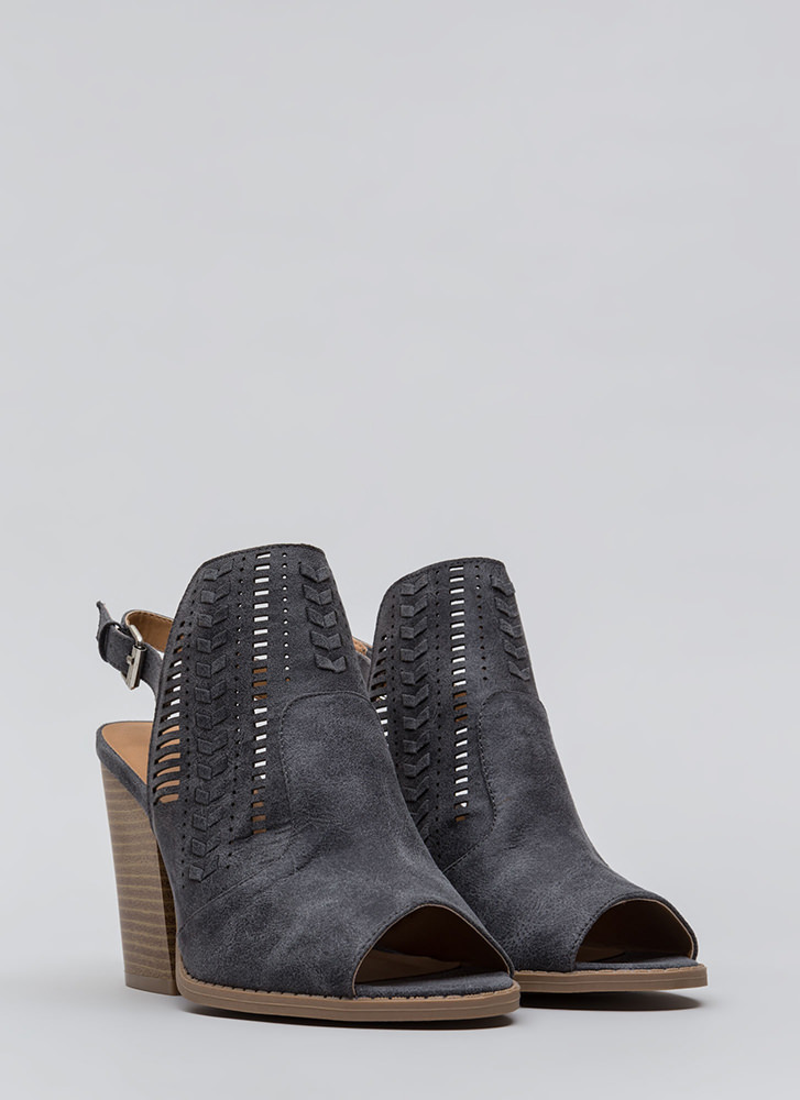 On The Wedge Woven Chunky Heels STEELGREY