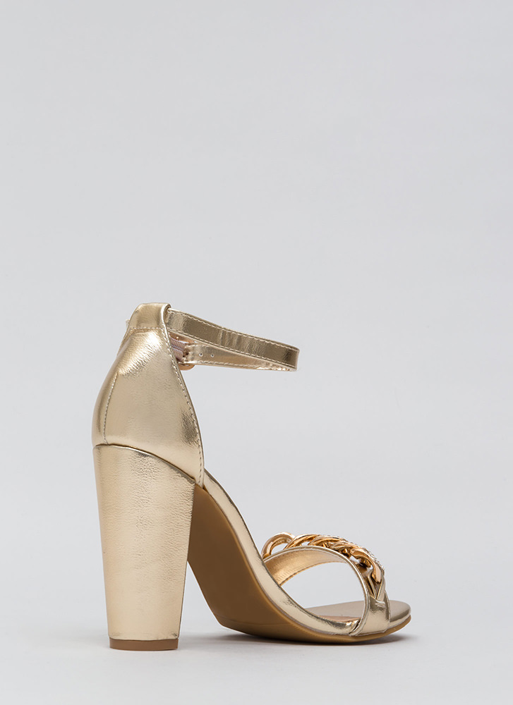 Start A Love Chain Strappy Jeweled Heels GOLD