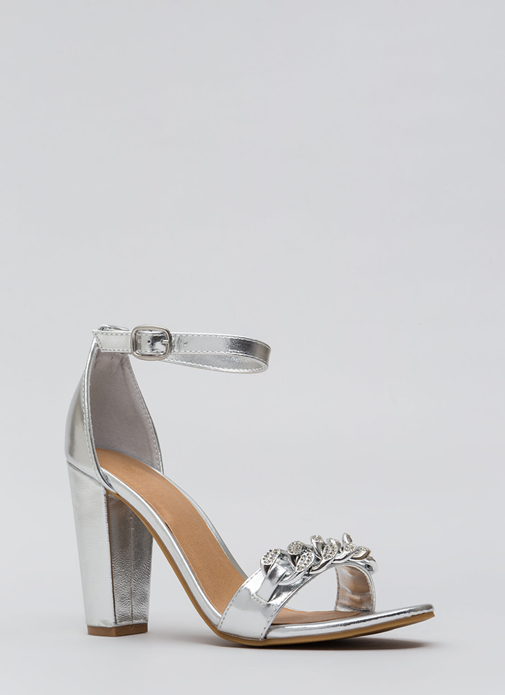 Start A Love Chain Strappy Jeweled Heels SILVER