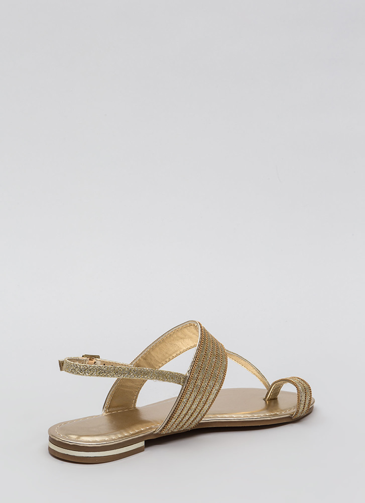 Chain Spotting Strappy Glittery Sandals GOLD