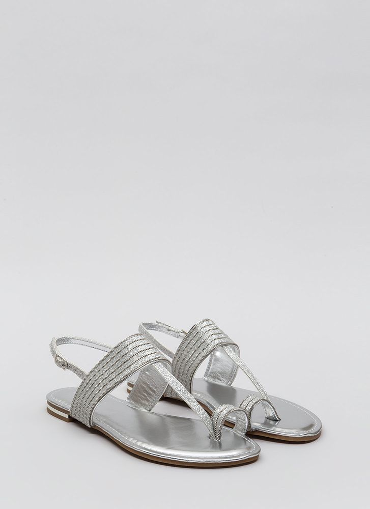Chain Spotting Strappy Glittery Sandals SILVER