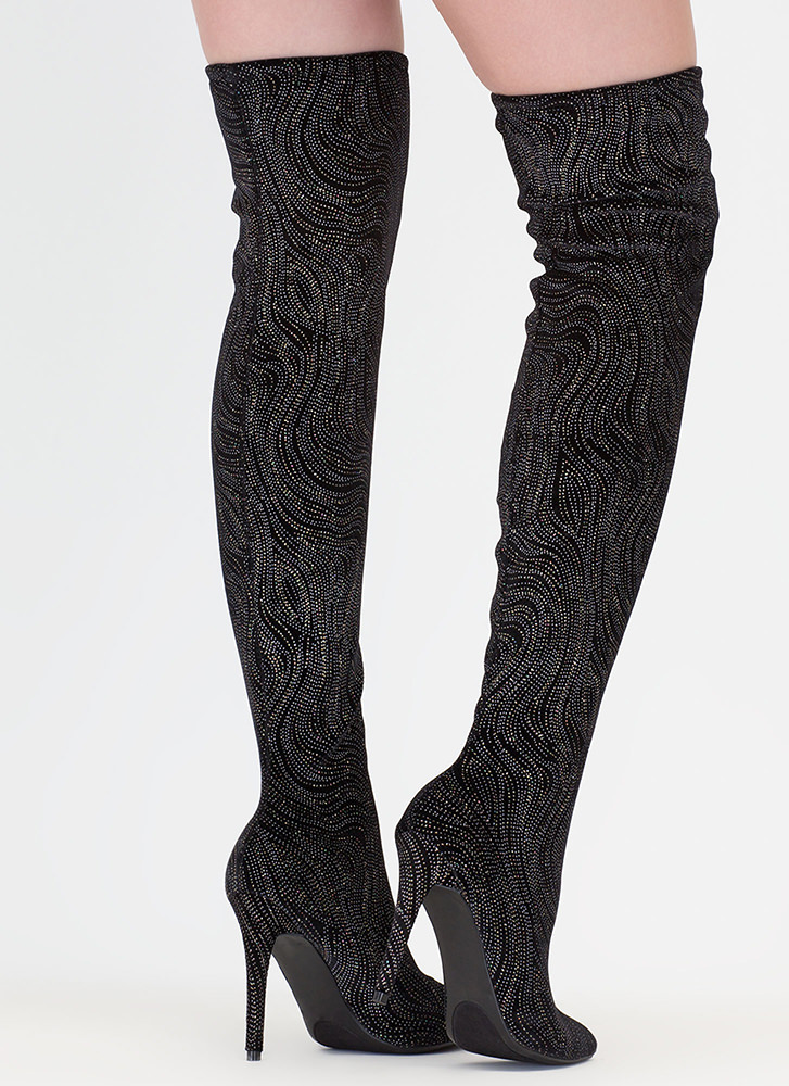Just Say High Glittery Thigh-High Boots BLACK (Final Sale)