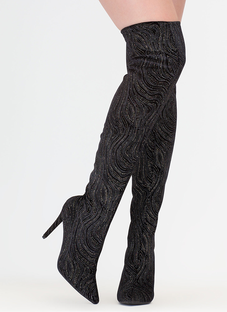 Just Say High Glittery Thigh-High Boots BLACK