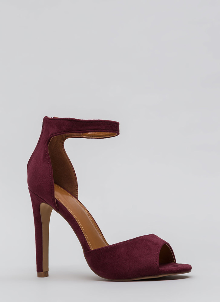 Carve Out Some Time Faux Suede Heels WINE