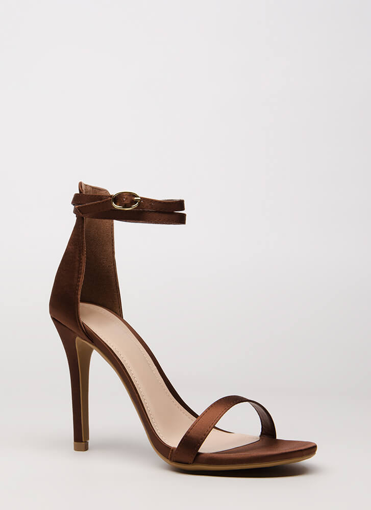 Double Your Pleasure Strappy Satin Heels BROWN