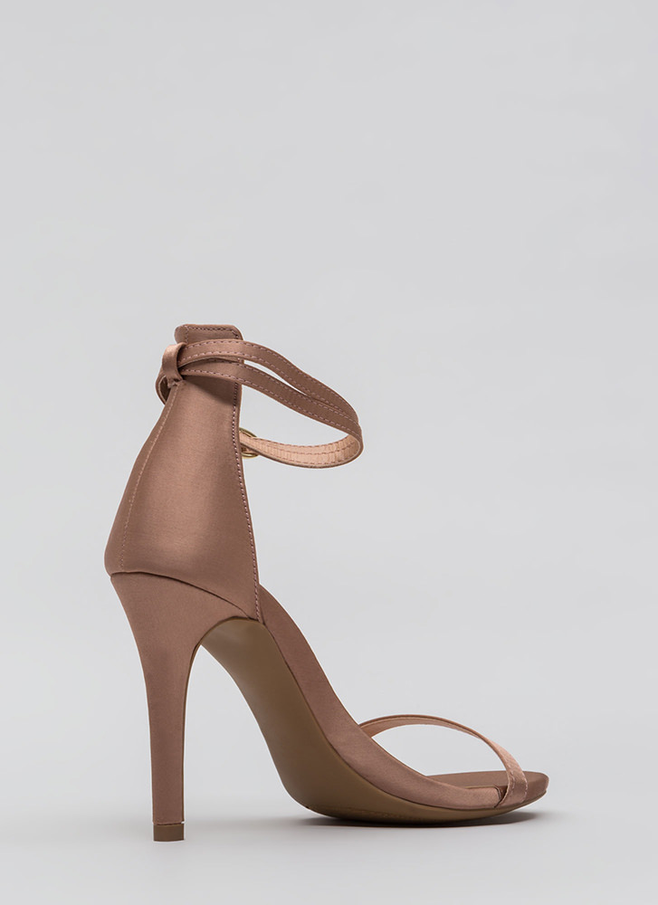 Double Your Pleasure Strappy Satin Heels MAUVE