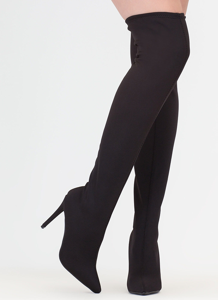 Just Say High Lycra Thigh-High Boots BLACK