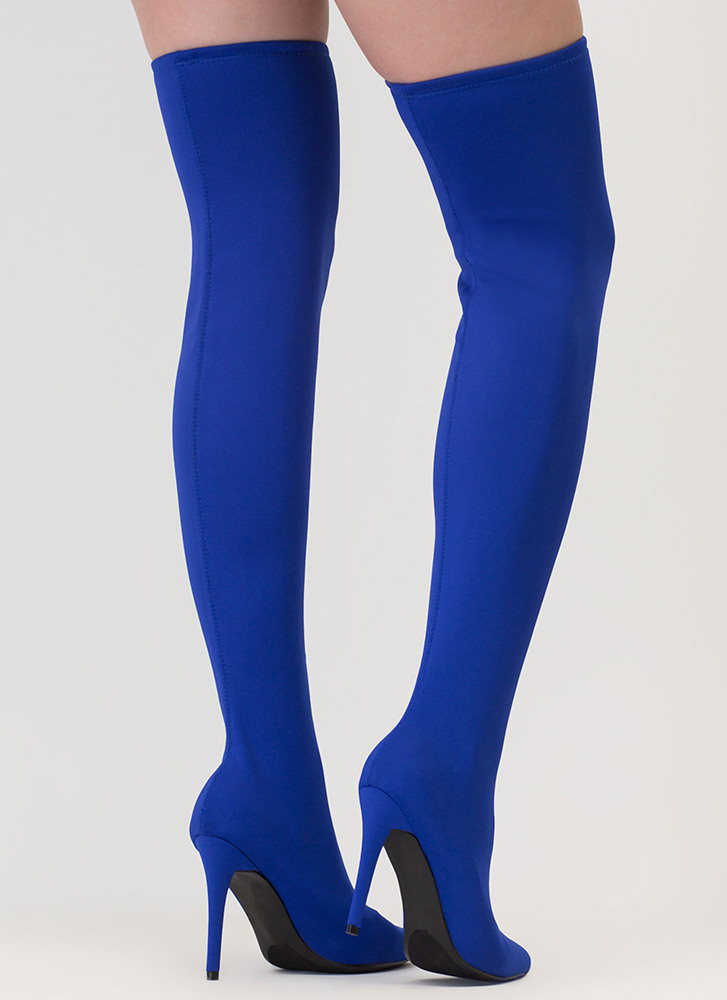 Just Say High Lycra Thigh-High Boots BLUE