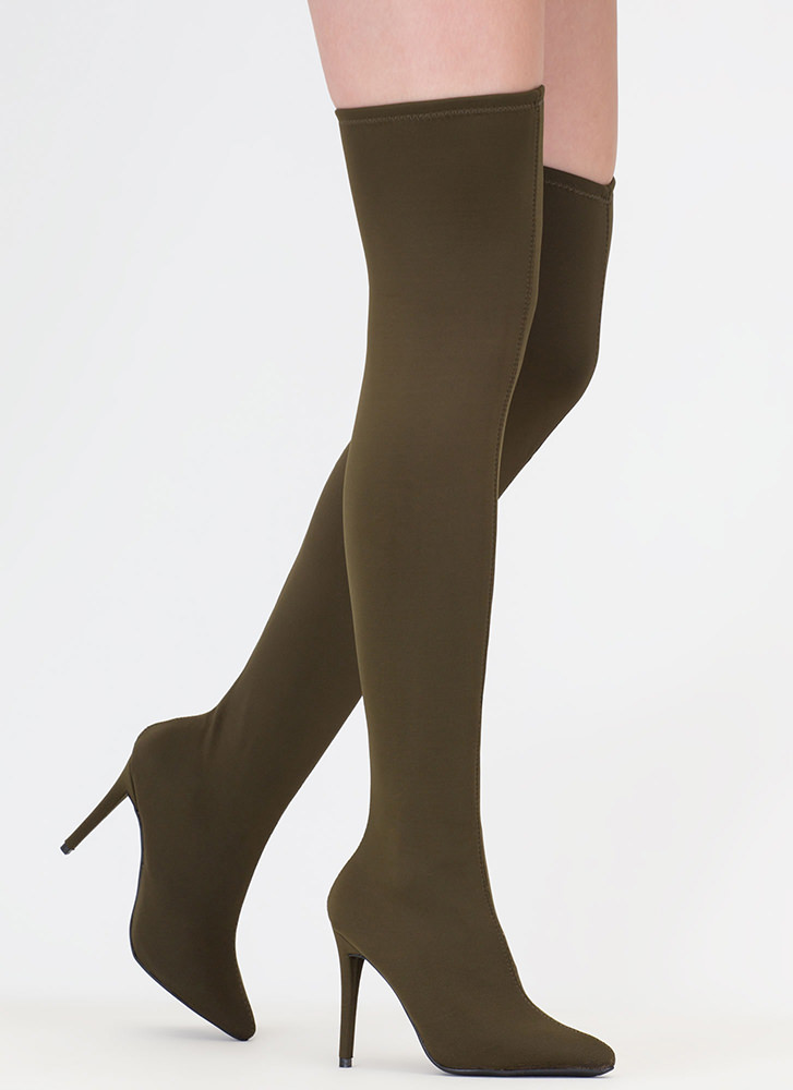 Just Say High Lycra Thigh-High Boots OLIVE