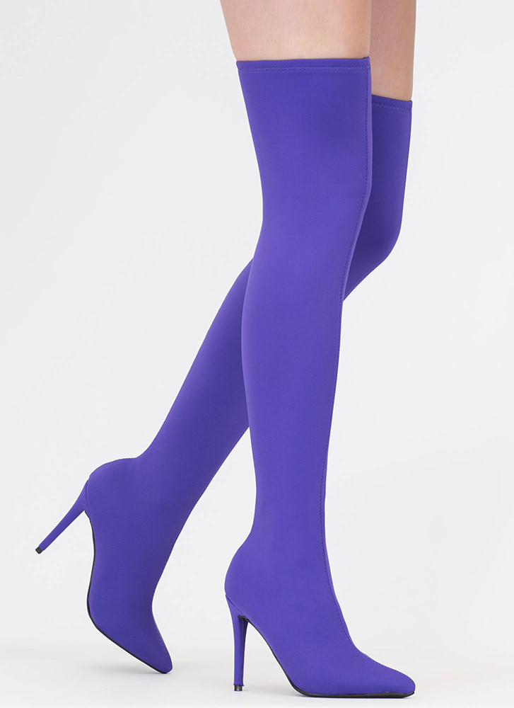 Just Say High Lycra Thigh-High Boots PURPLE