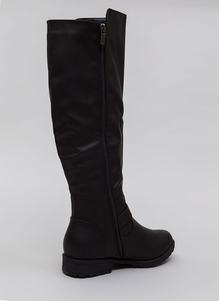 Zipped Into Shape Knee-High Lug Boots BLACK