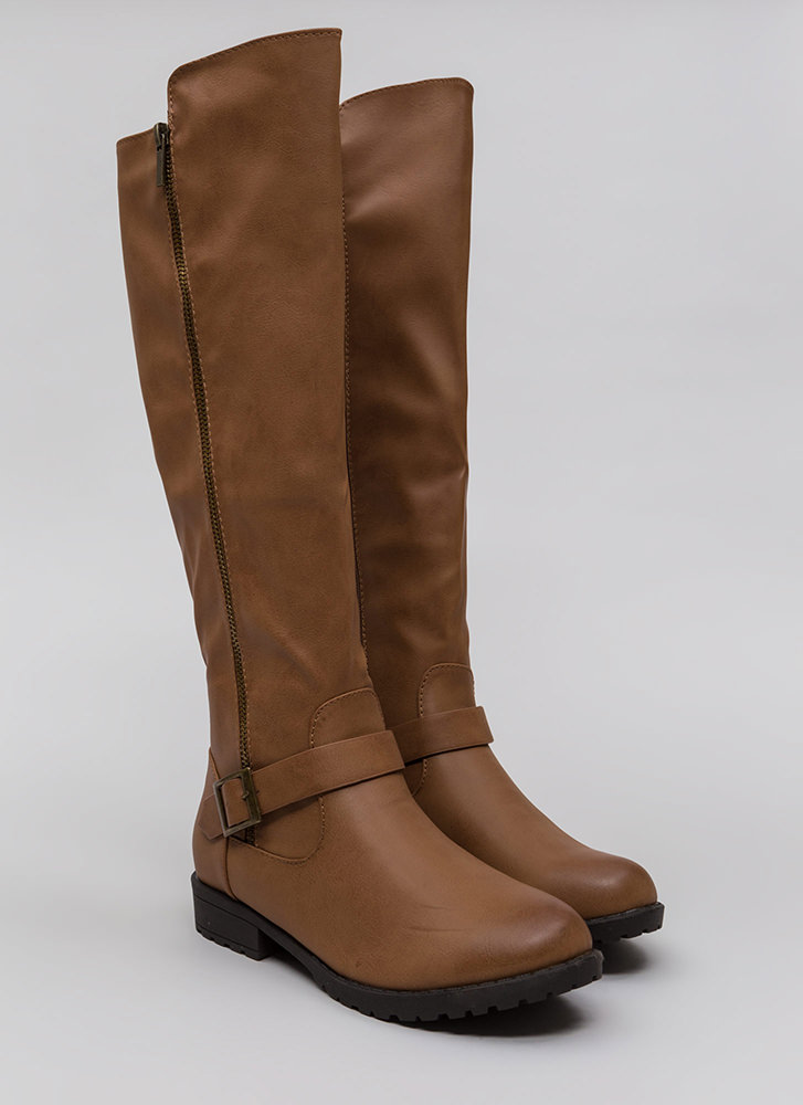 Zipped Into Shape Knee-High Lug Boots TAN