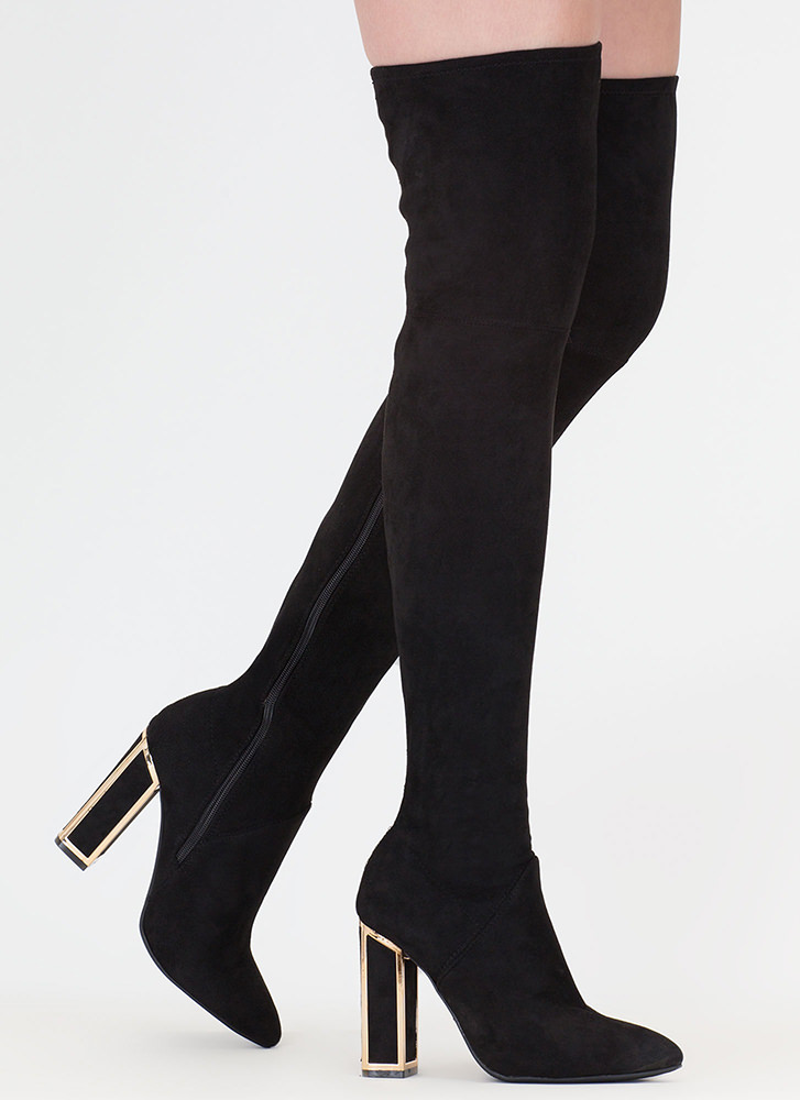 Frame Game Faux Suede Thigh-High Boots BLACK