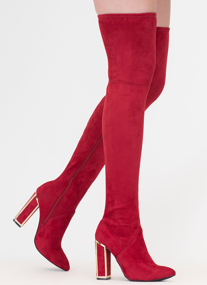Frame Game Faux Suede Thigh-High Boots RED