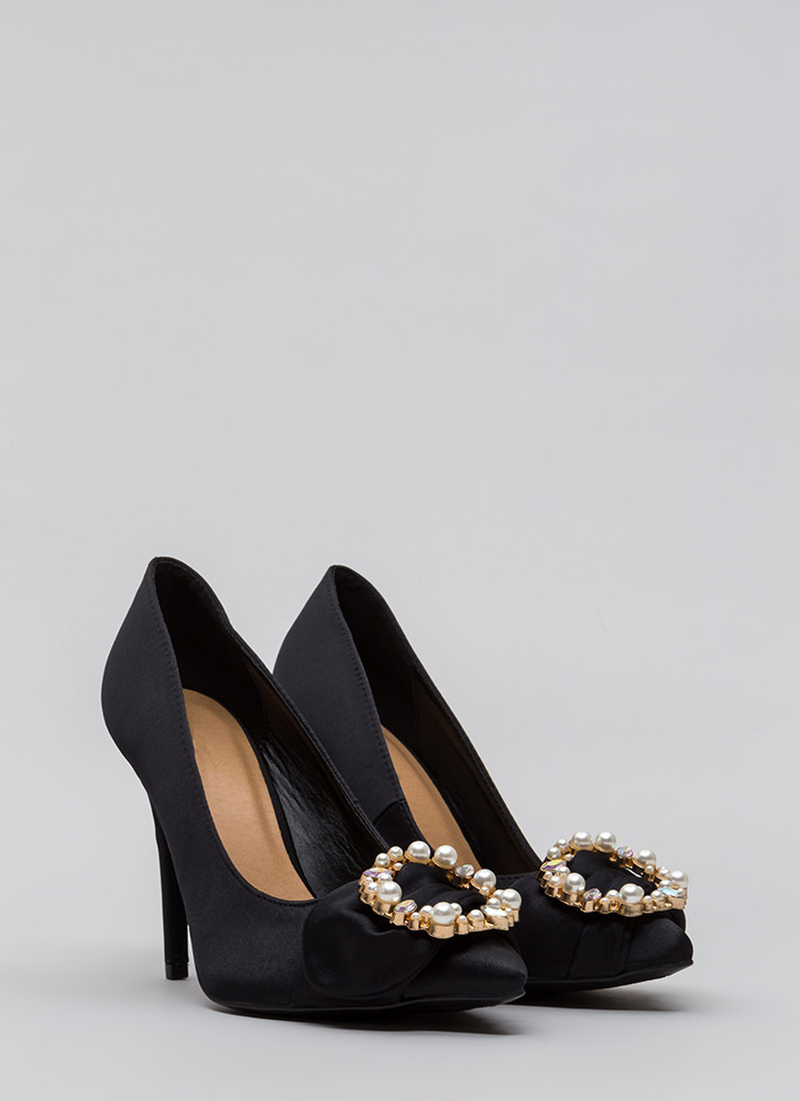 Ring It On Pointy Jeweled Satin Pumps BLACK