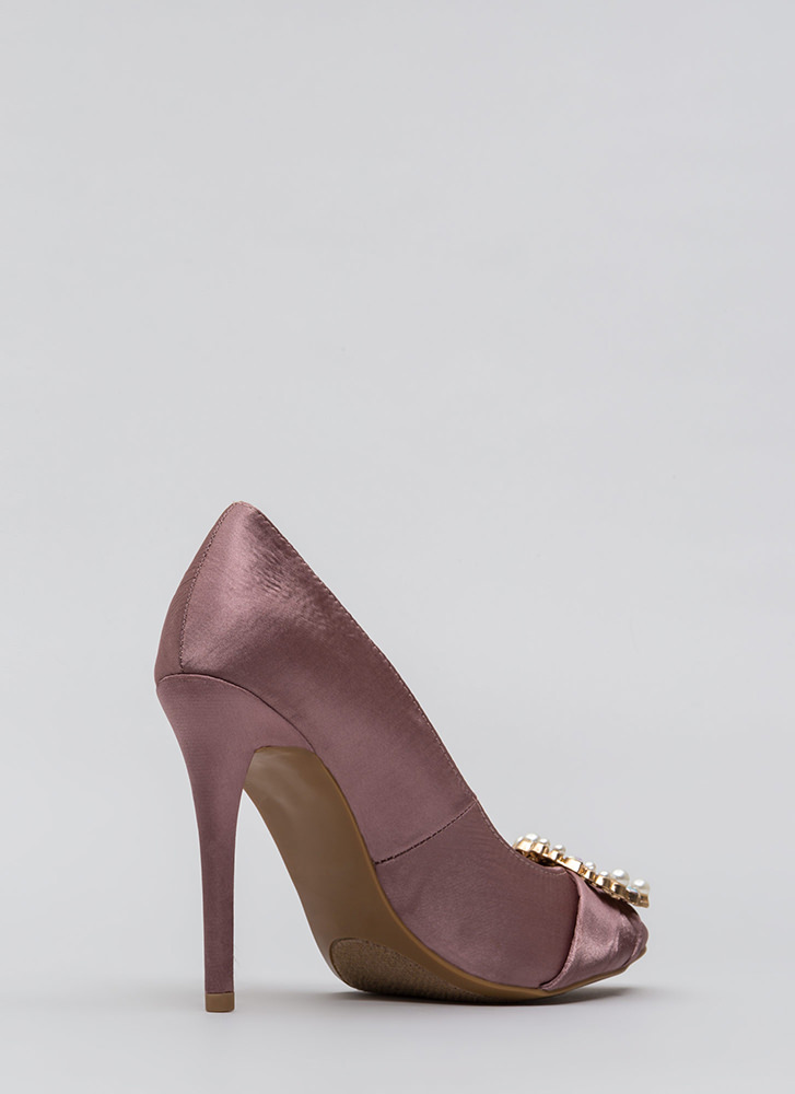 Ring It On Pointy Jeweled Satin Pumps DKMAUVE