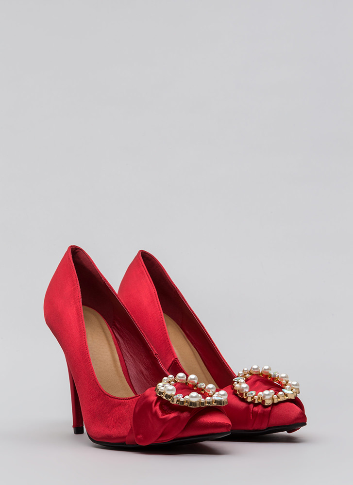 Ring It On Pointy Jeweled Satin Pumps RED