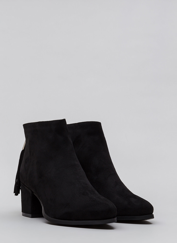 Double Time Chunky Tasseled Booties BLACK