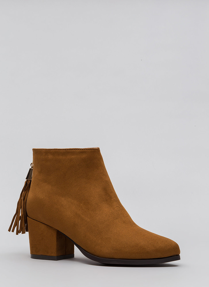 Double Time Chunky Tasseled Booties COGNAC