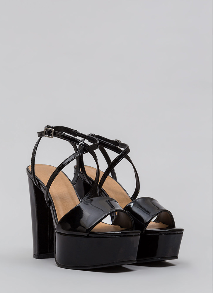 Square Off Chunky Faux Patent Platforms BLACK