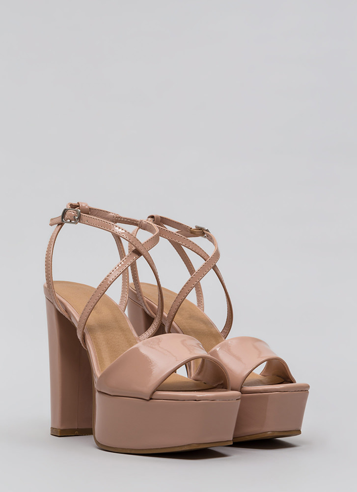 Square Off Chunky Faux Patent Platforms NUDE