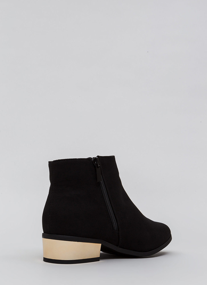 Shine Of The Times Faux Suede Booties BLACK
