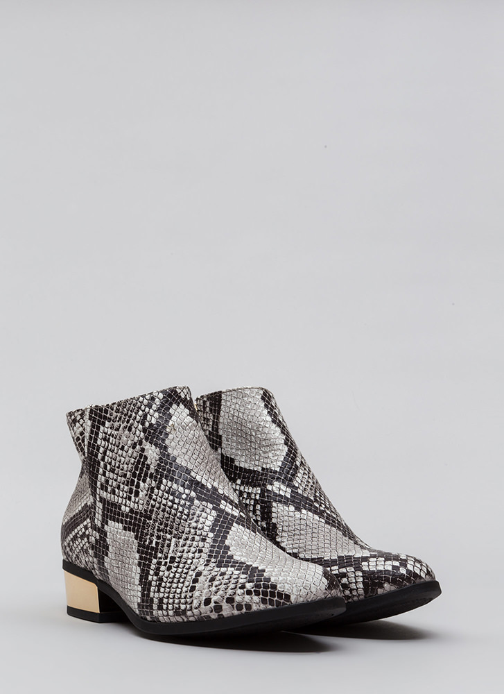 Shine Of The Times Faux Snake Booties SNAKE
