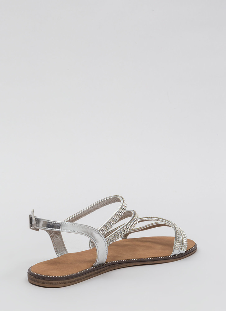 Four The Love Of Straps Jeweled Sandals SILVER