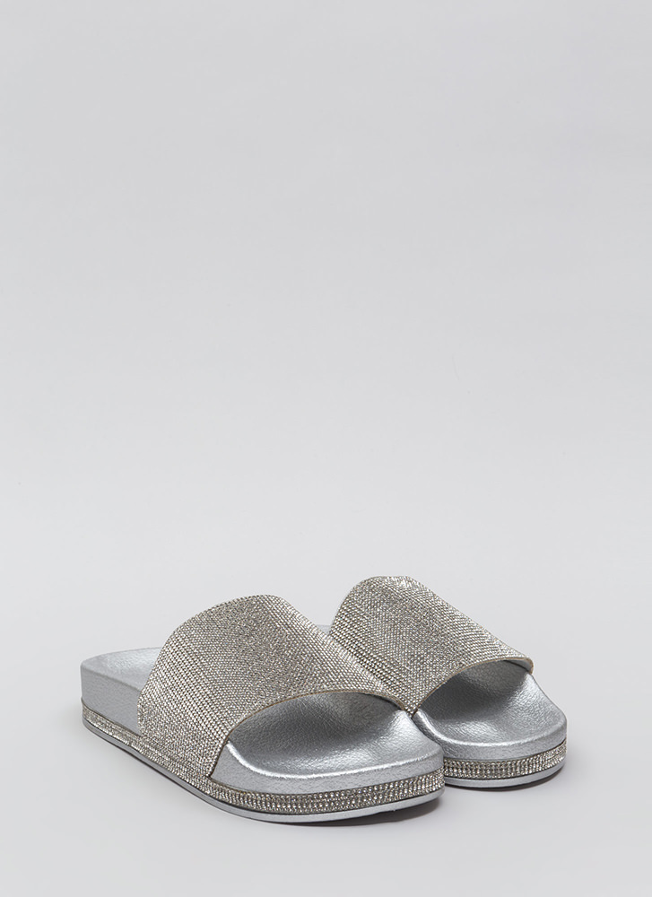 Sparkle In My Eye Jeweled Slide Sandals SILVER