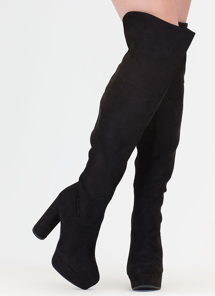 Pipe Dream Faux Suede Thigh-High Boots BLACK