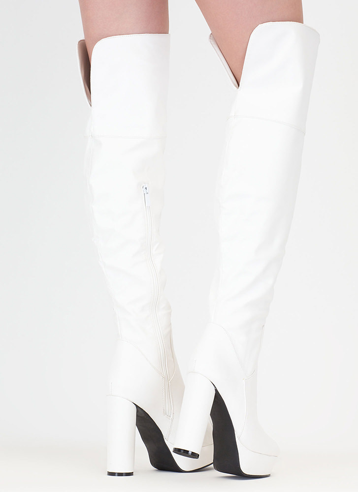 Pipe Dream Faux Leather Thigh-High Boots WHITE