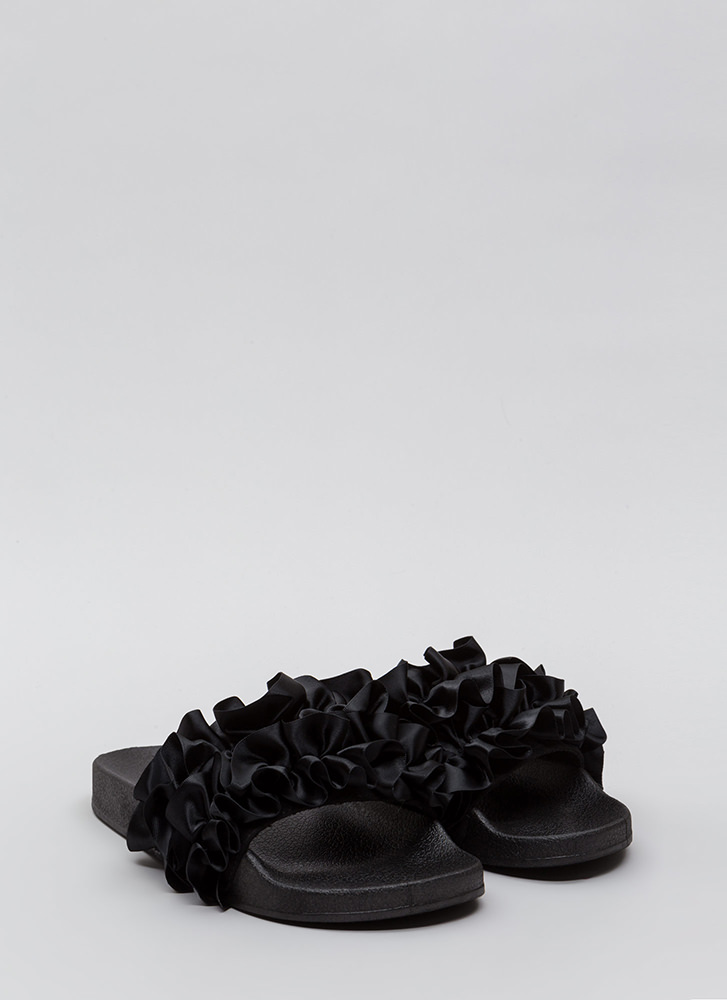 Ruffle Some Feathers Satin Slide Sandals BLACK