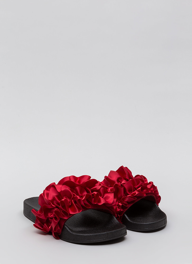 Ruffle Some Feathers Satin Slide Sandals RED