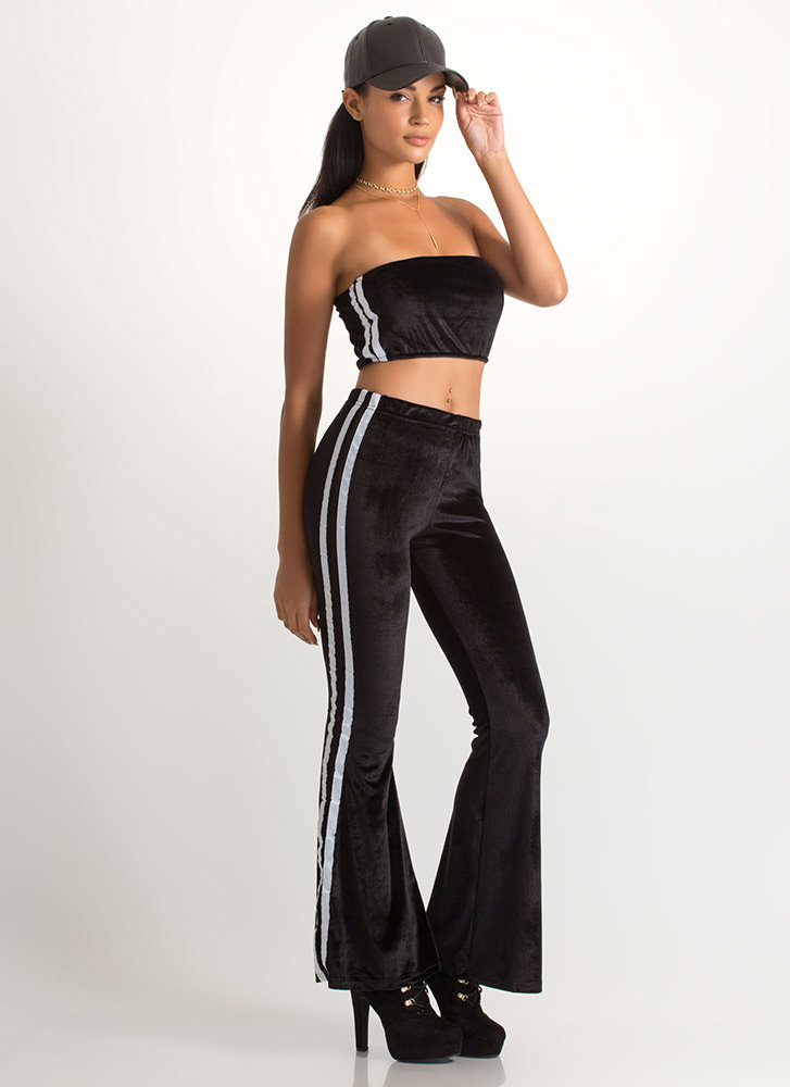 Flare Game Striped Two-Piece Jumpsuit BLACK