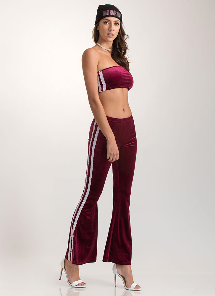 Flare Game Striped Two-Piece Jumpsuit BURGUNDY