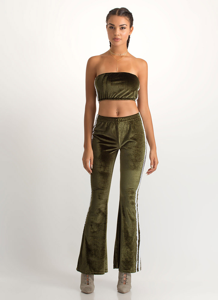 Flare Game Striped Two-Piece Jumpsuit OLIVE