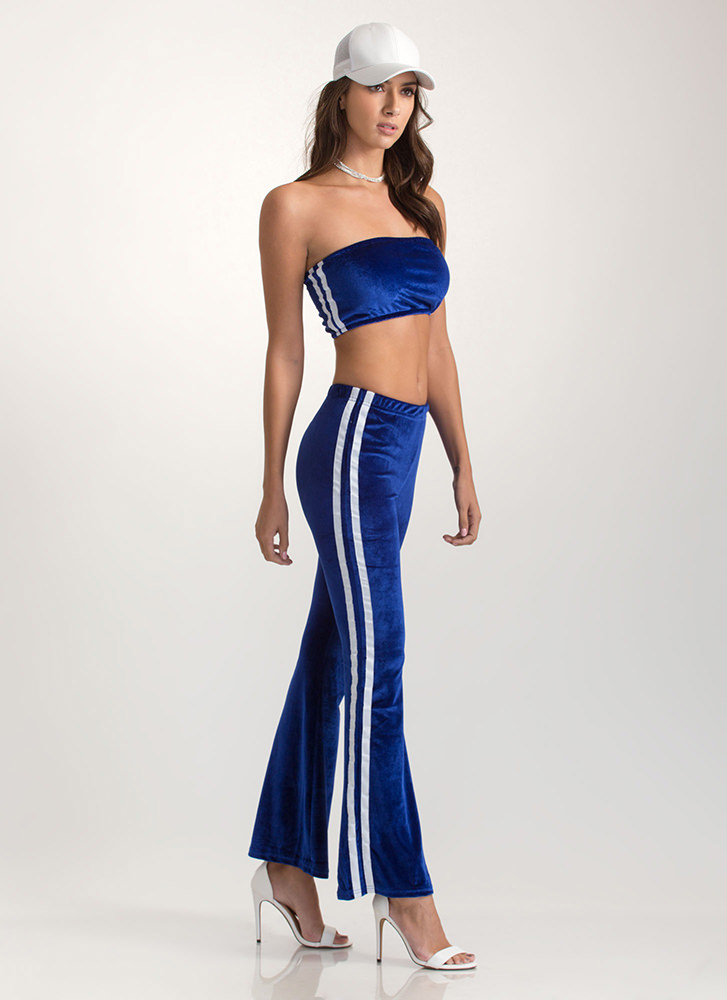 Flare Game Striped Two-Piece Jumpsuit ROYAL