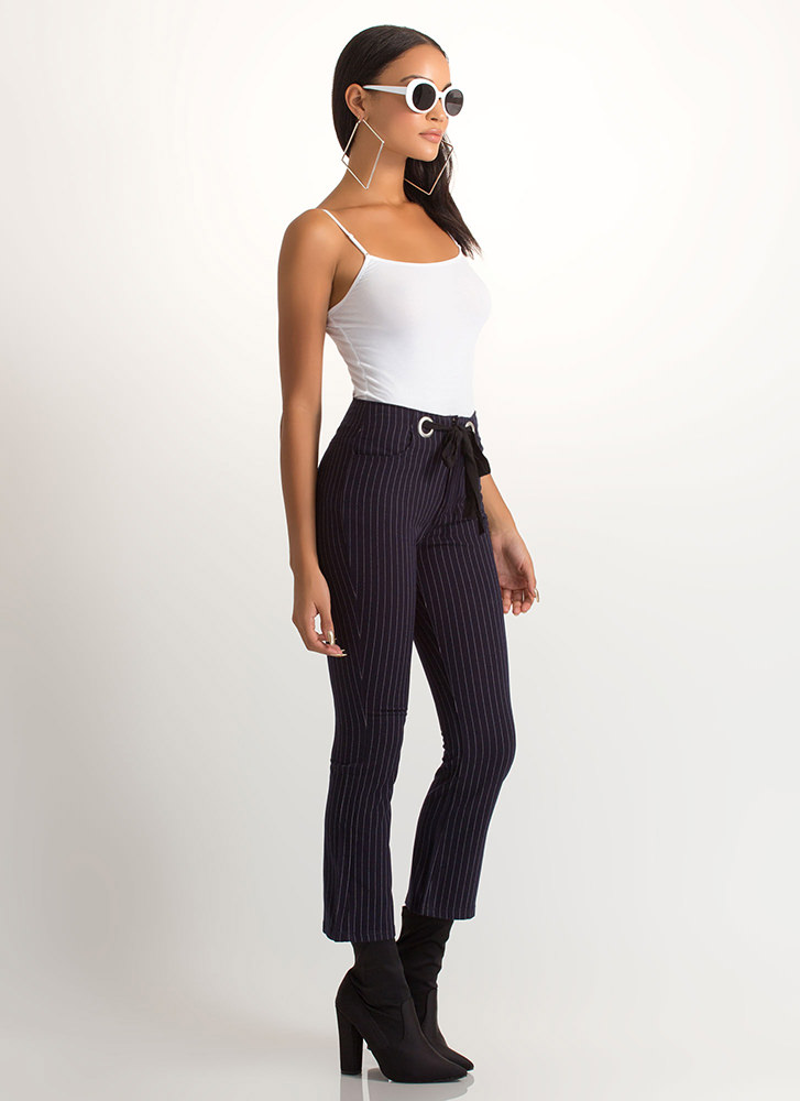 Truth Or Flare Cropped Pinstriped Pants NAVY