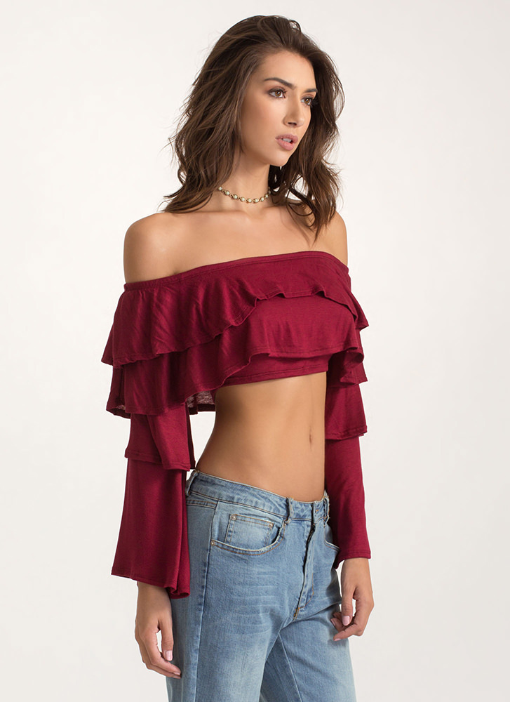 Tier Up Ruffled Off-Shoulder Crop Top BURGUNDY