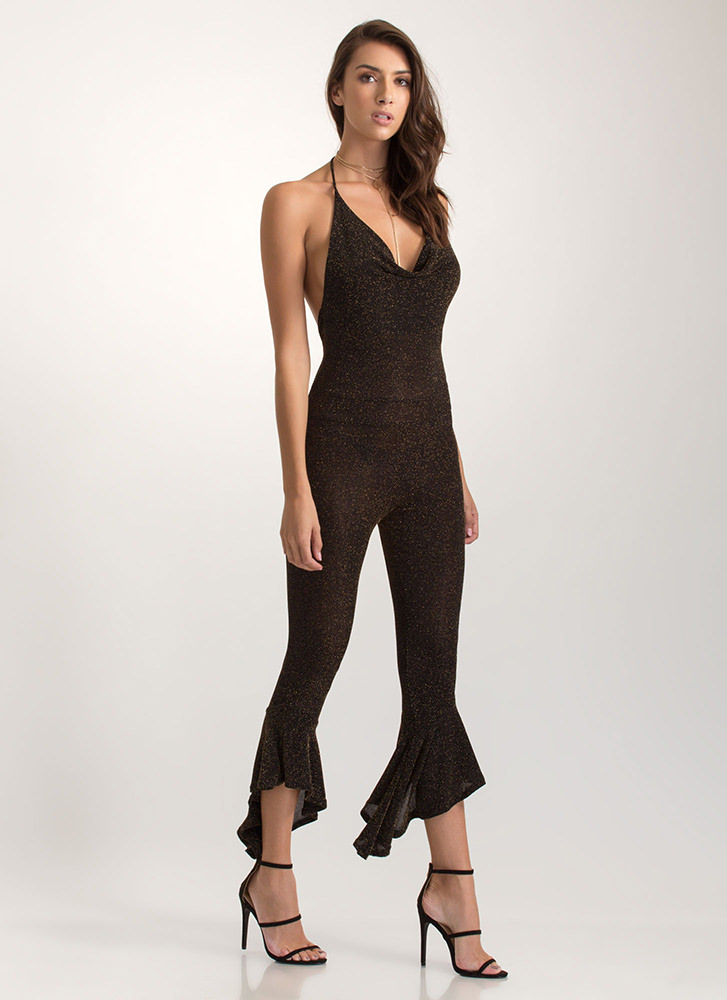 Feeling Sparks Ruffled Halter Jumpsuit GOLD (You Saved $22)