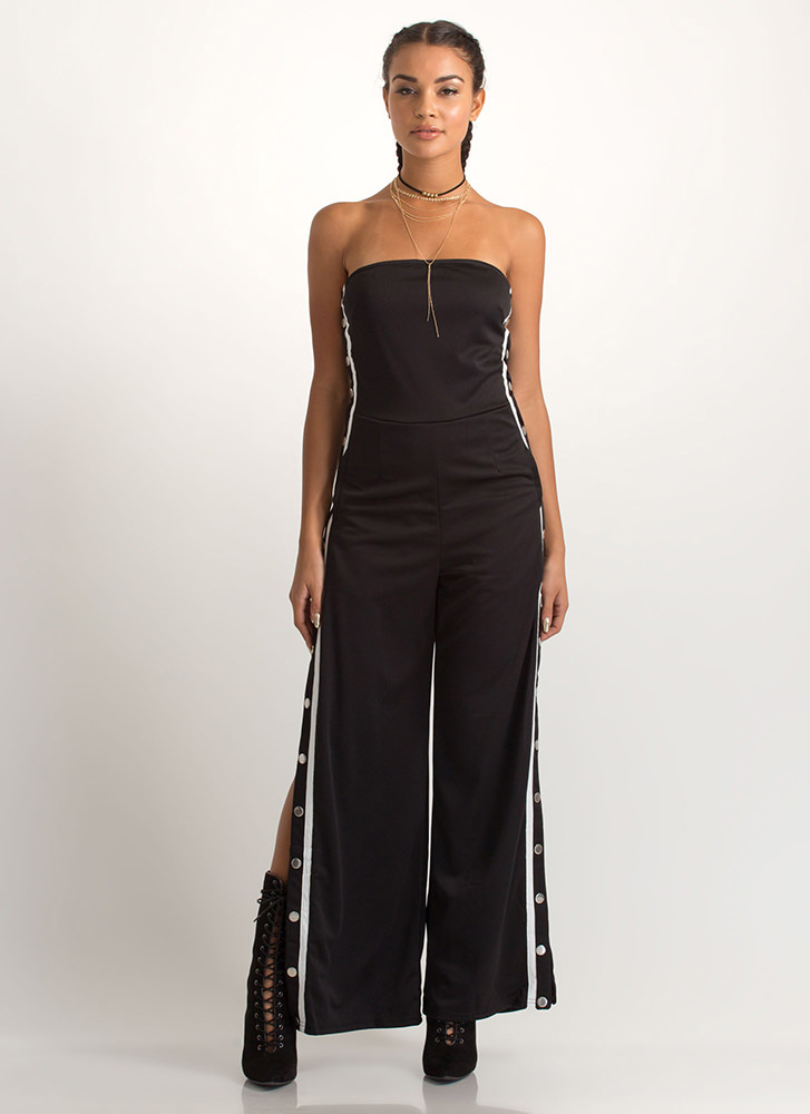 Style Goal Strapless Palazzo Jumpsuit BLACK
