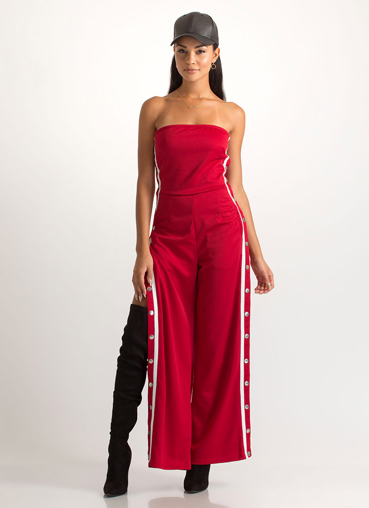Style Goal Strapless Palazzo Jumpsuit BURGUNDY