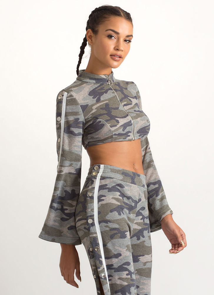 Camo Cool Cropped Bell Sleeve Jacket CAMOUFLAGE (Final Sale)
