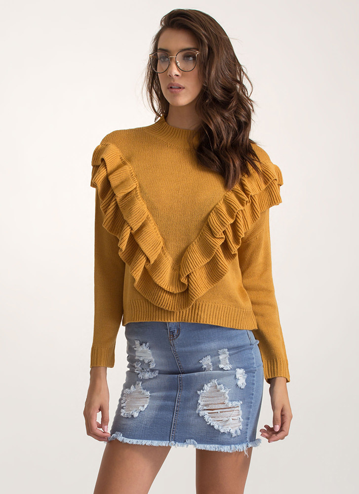 V Yourself Double Ruffle Knit Sweater MUSTARD