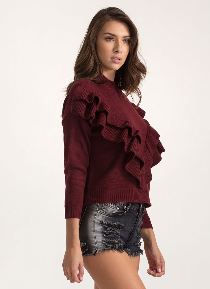 V Yourself Double Ruffle Knit Sweater WINE