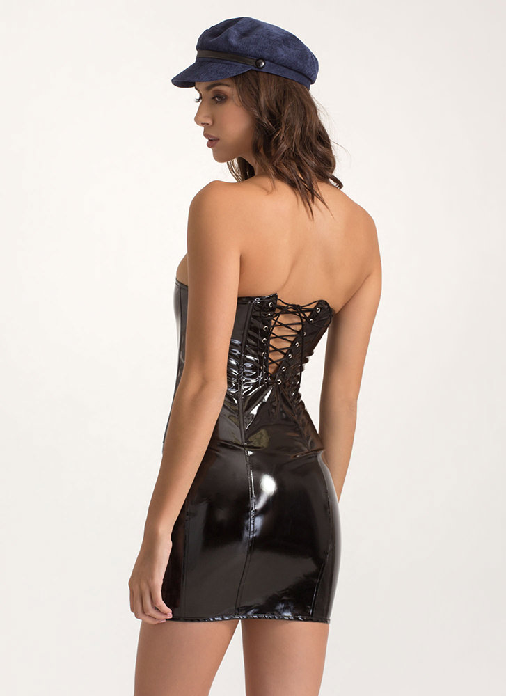 Get It In Vinyl Strapless Lace-Up Dress BLACK